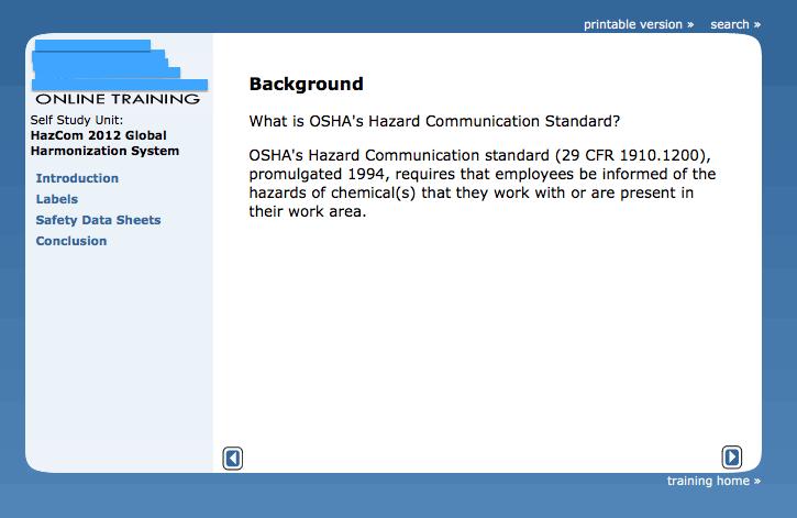 Training Welcome Screen