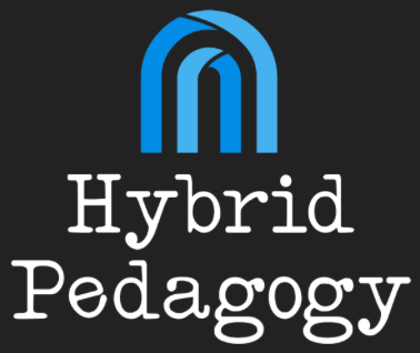 The Hybrid Pedagogy Logo, which is two nested blue archways on a dark gray background.