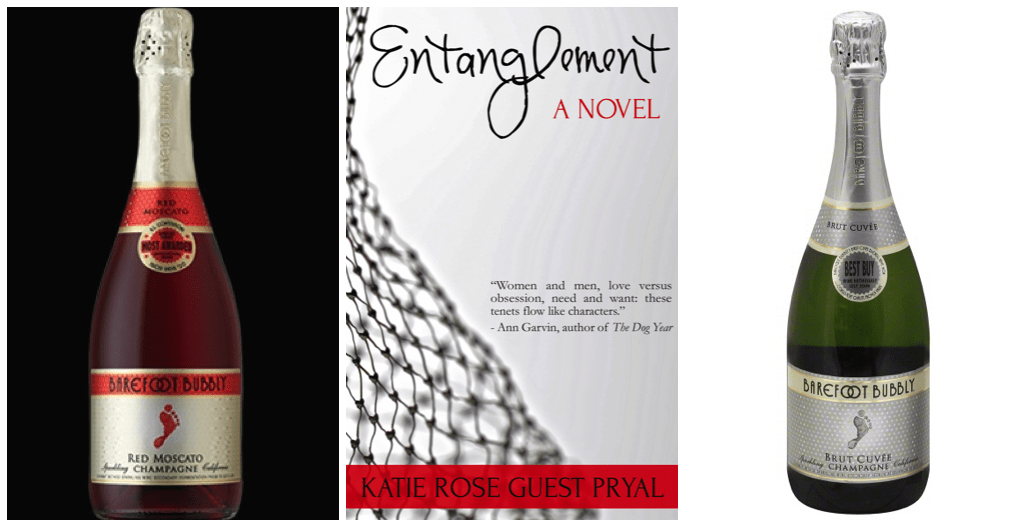 A red bottle and a silver bottle of champagne flanking the cover of Entanglement