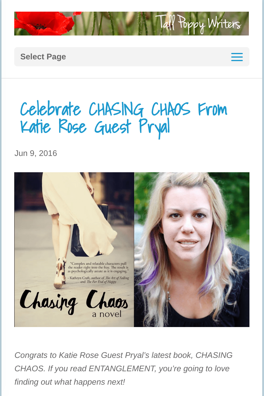 Tall Poppy Writers: CHASING CHAOS Interview & Announcement
