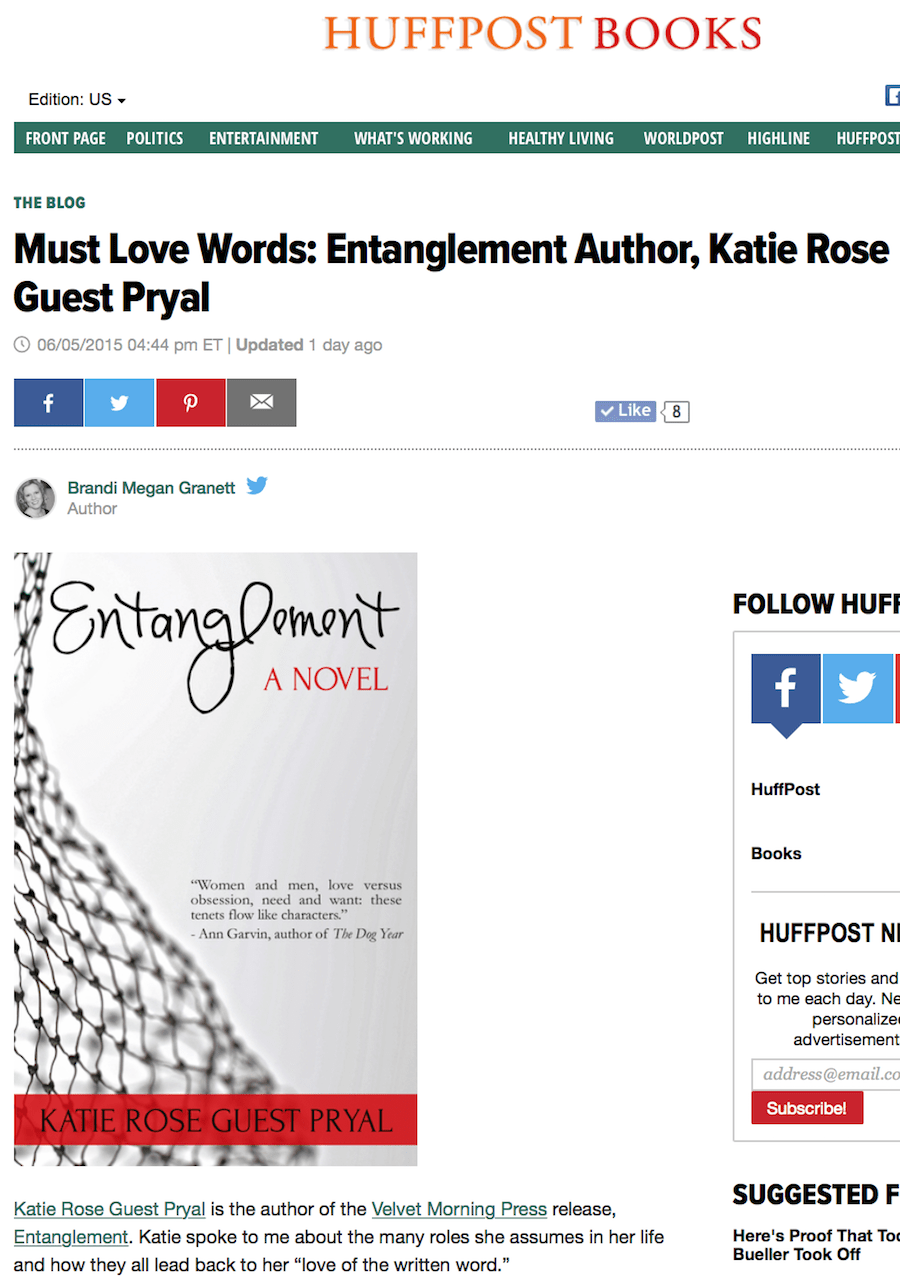 Huffington Post Books: ENTANGLEMENT Interview