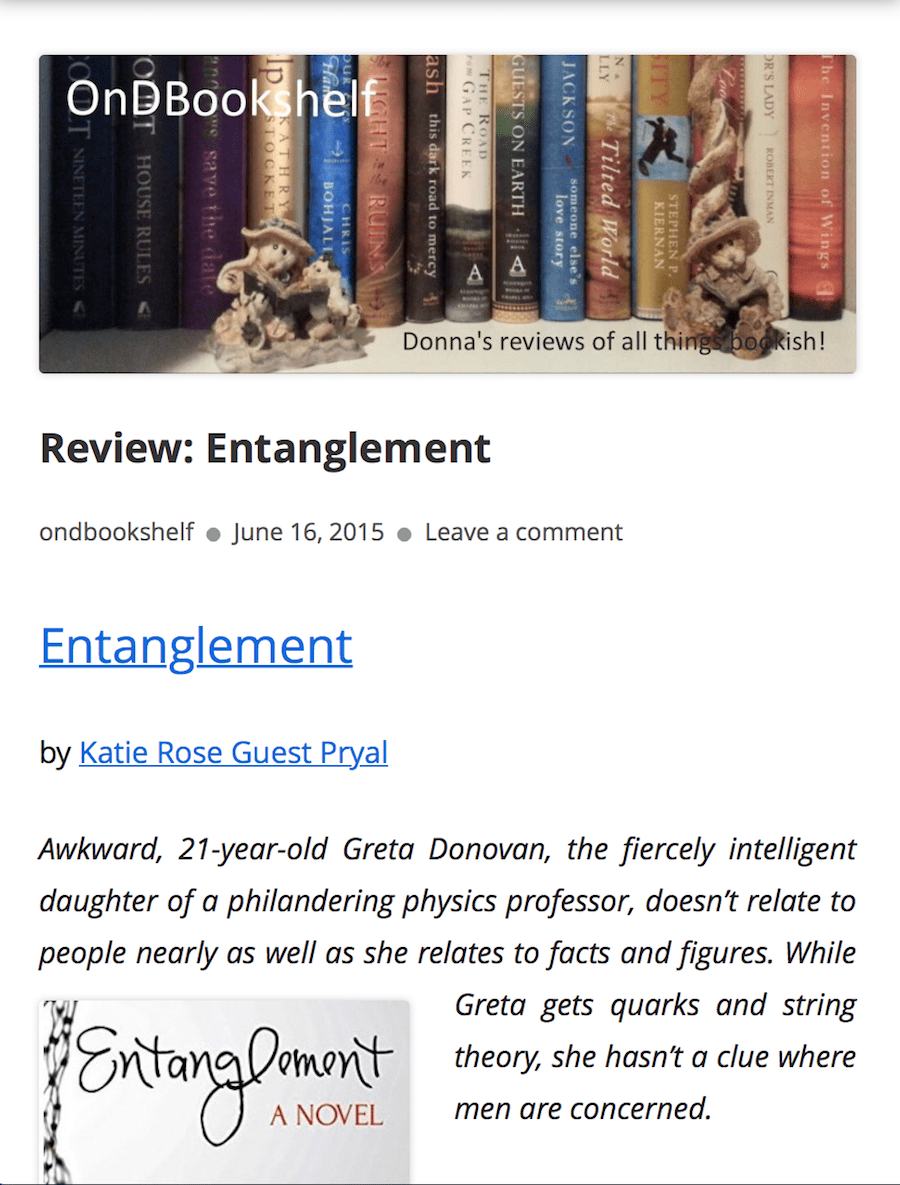 On D Bookshelf: Review of ENTANGLEMENT