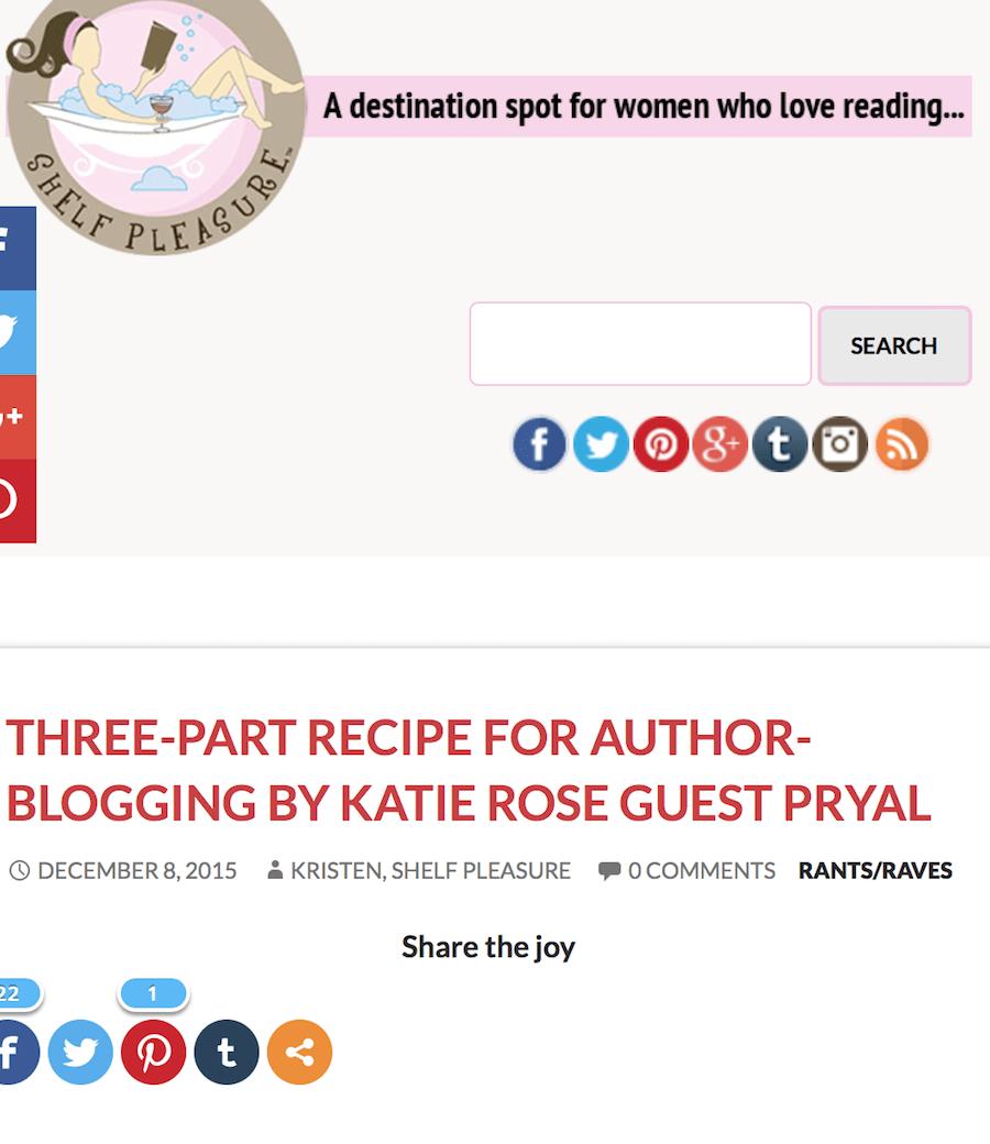 Shelf Pleasure: Three-Part Recipe for Author Blogging