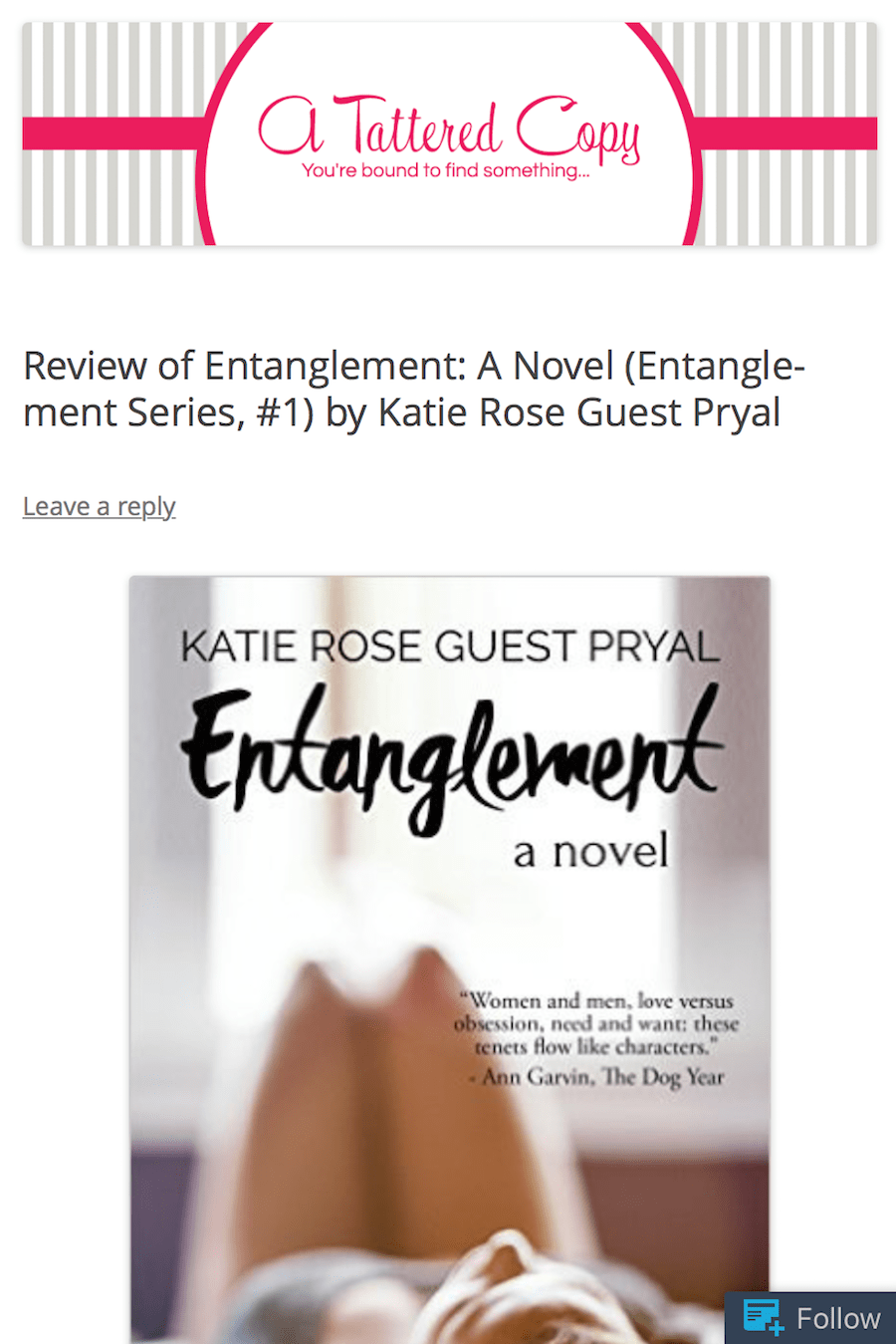 A Tattered Copy: Review of ENTANGLEMENT