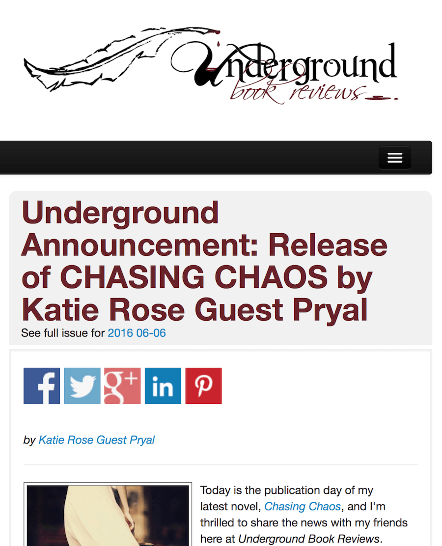 Underground Book Reviews: CHASING CHAOS Publication Announcement