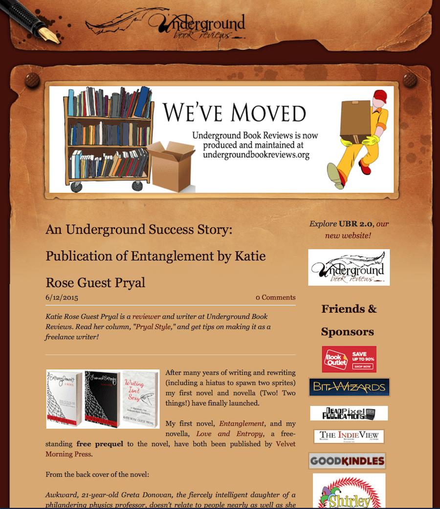 Underground Book Reviews: ENTANGLEMENT Publication Announcement