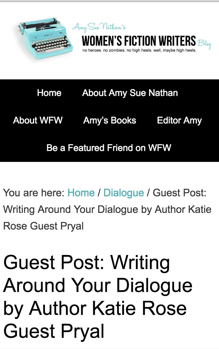 Women Fiction Writers: Writing Around Your Dialogue