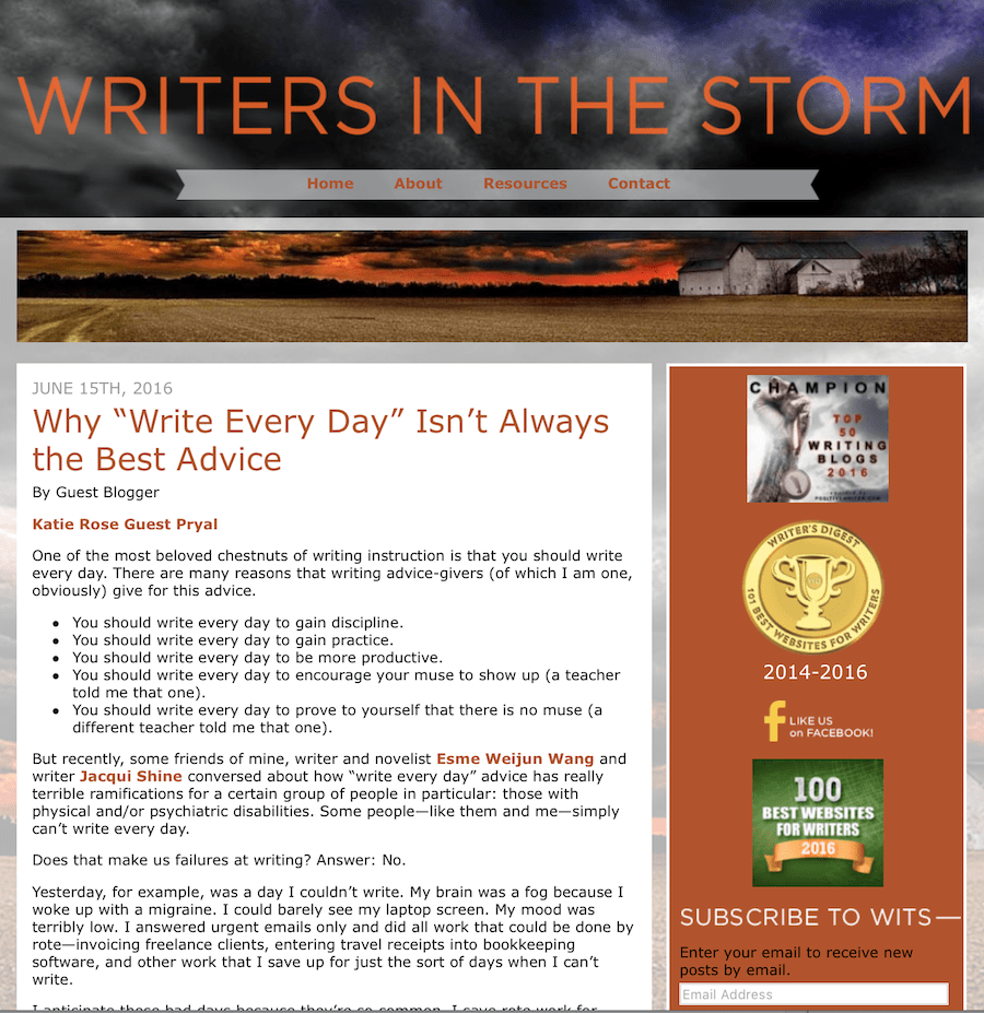 "Writers in the Storm: Why ""Write Every Day"" Isn't Always the Best Advice"