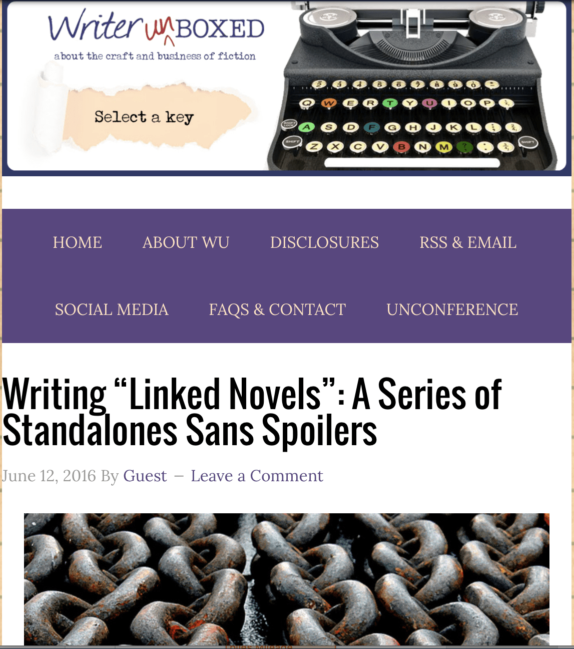 """Writer Unboxed: """"Linked Novels"""": A Series of Standalones Sans Spoilers"""