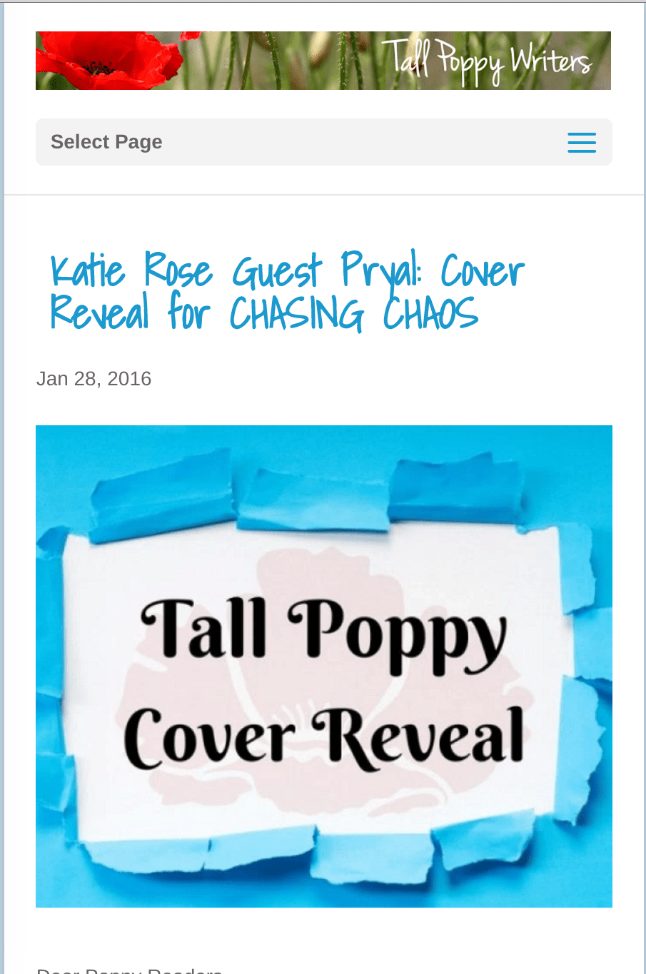 Tall Poppy Blog: CHASING CHAOS Cover Reveal