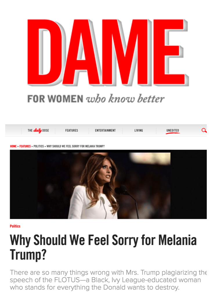 Dame Magazine: Why Should We Feel Sorry for Melania Trump?
