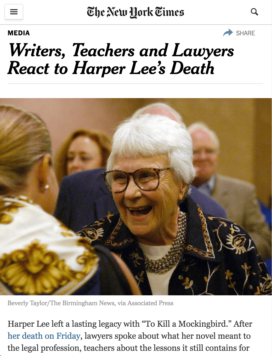 New York Times: Writers, Teachers and Lawyers React to Harper Lee's Death [Interview]