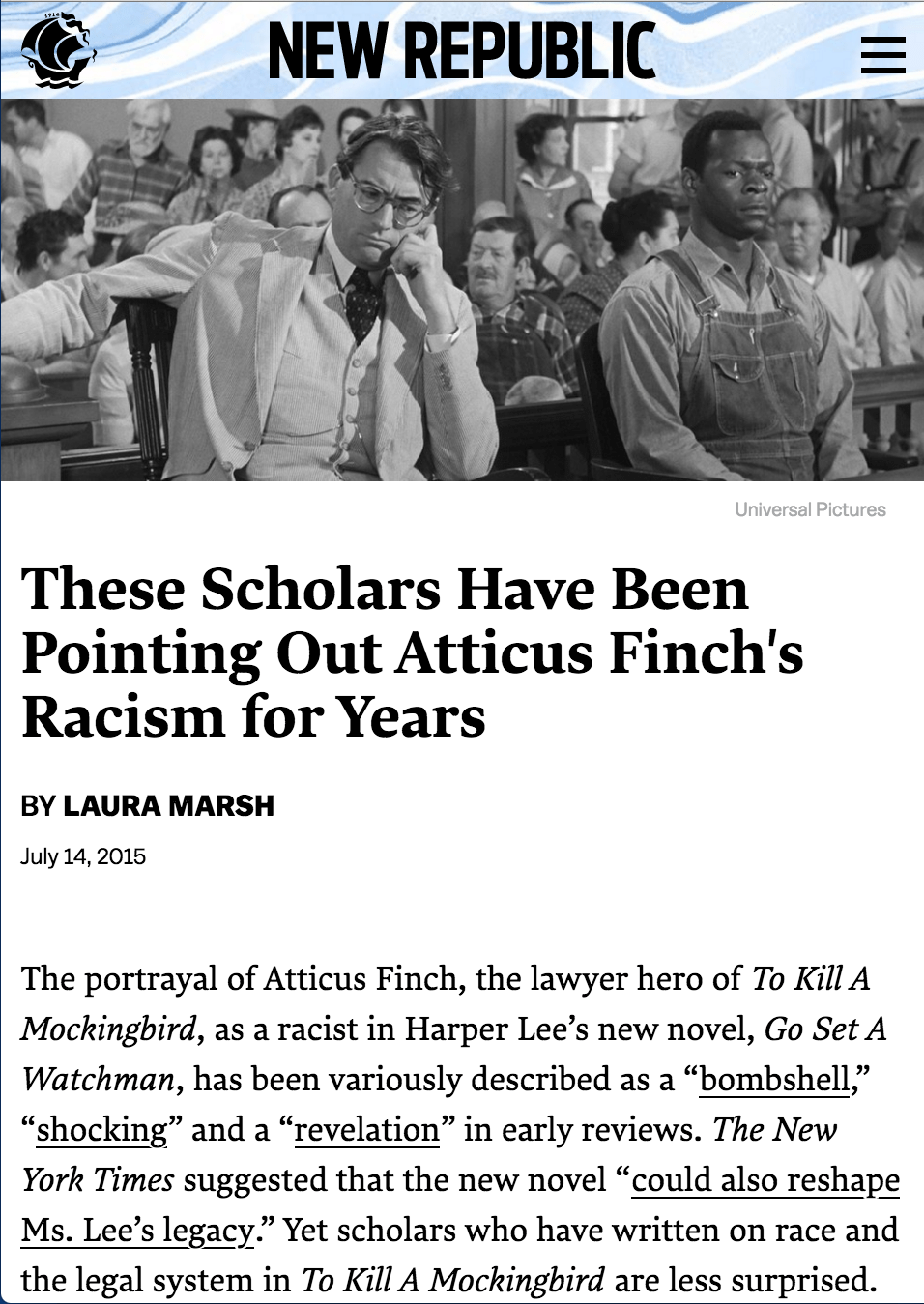New Republic: These Scholars Have Been Pointing Out Atticus Finch's Racism for Years