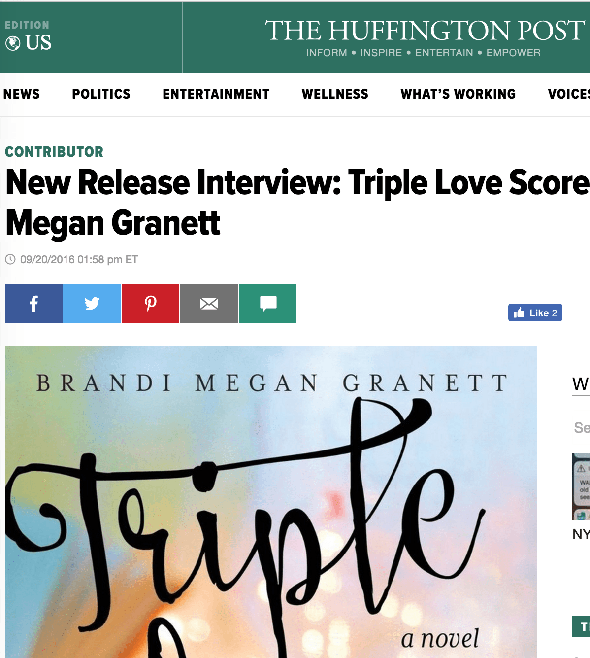 Huffington Post: New Release Interview: Triple Love Score by Brandi Megan Granett