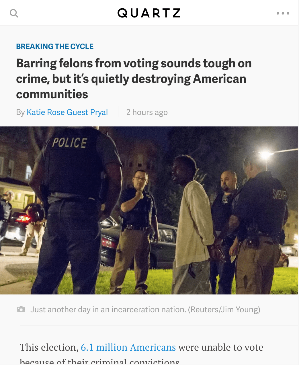 Quartz: Barring felons from voting sounds tough on crime, but it's quietly destroying American communities