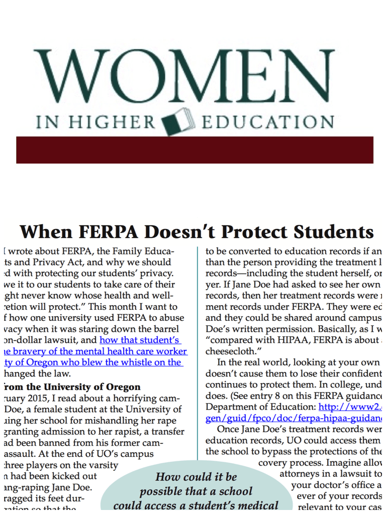 Women in Higher Education: When FERPA Doesn't Protect Students