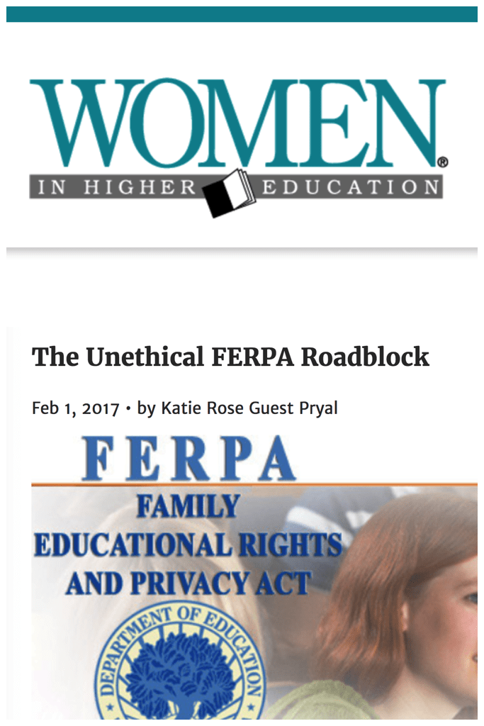 Women in Higher Education: The Unethical FERPA Roadblock