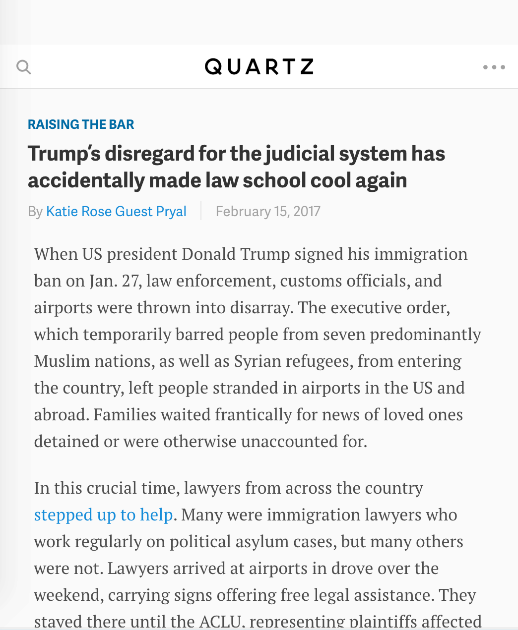 Quartz: Trump's disregard for the judicial system has accidentally made law school cool again