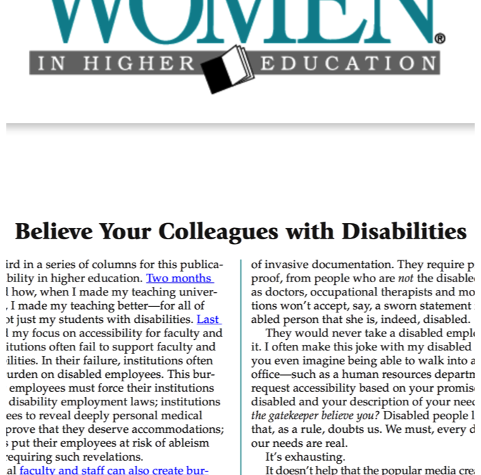 Women in Higher Education: Believe Your Colleagues with Disabilities