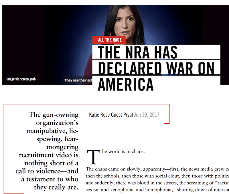 DAME Magazine: The NRA Has Declared War on America