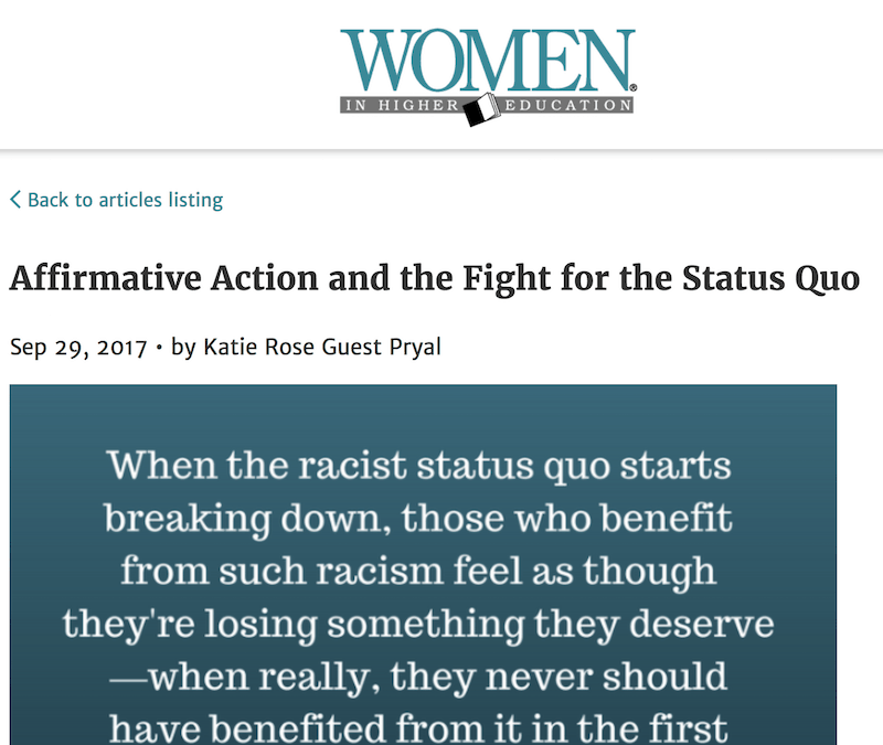 Women in Higher Education: Affirmative Action and the Fight for the Status Quo