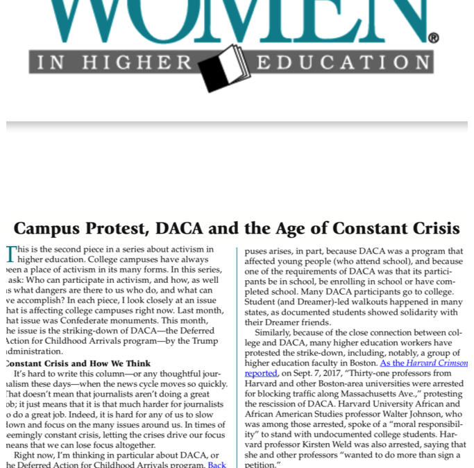 Women in Higher Education: Campus Protest, DACA, and the Age of Constant Crisis