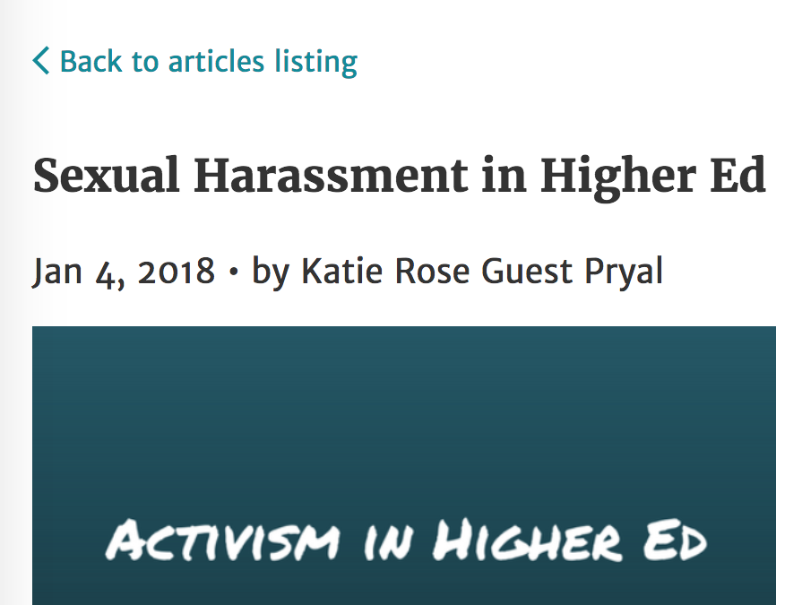 Women in Higher Education: Sexual Harassment in Higher Ed