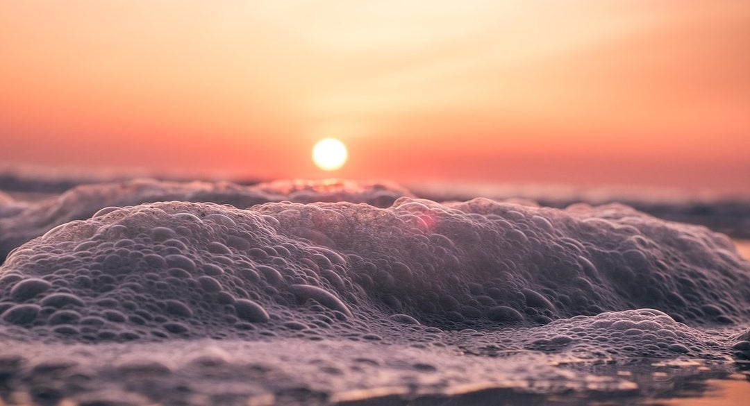 Alt Text: A photograph of a sunrise over a beach, close-up on the frothy water