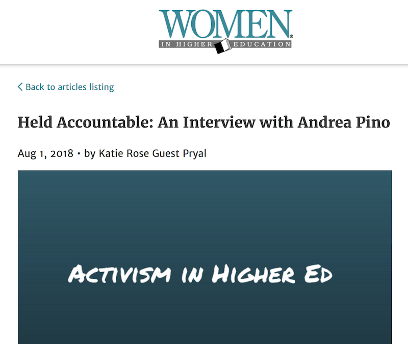Women in Higher Ed: Held Accountable: An Interview with Andrea Pino