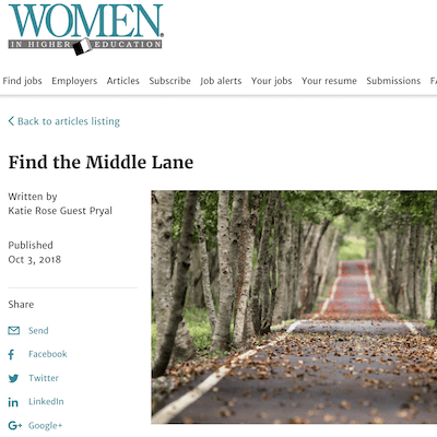Women in Higher Education: Find the Middle Lane