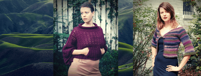 Two photographs of me in knits I designed on a background of green hills. One is a cardigan and the other a cropped poncho style.