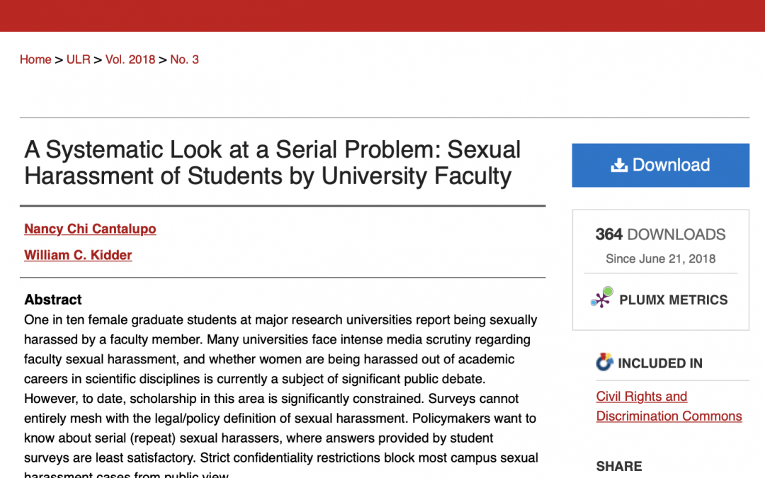 Utah Law Review featuring work on sexual harassment