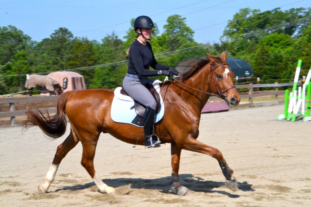 A large chestnut horse cantering with a female rider in the saddle